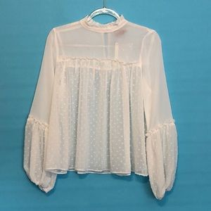 ASOS white sheer fashion blouse NWT